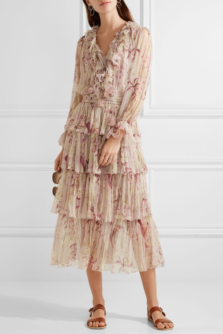 Zimmermann Winsome Tiered Crinkled Silk Chiffon Dress