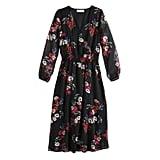 Smocked Midi Dress in Jet Black Falling Floral