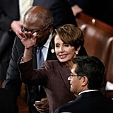 House Minority Leader Nancy Pelosi said her hellos.