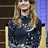 Lily James showed off her infectious smile while promoting Cinderella in Tokyo on Tuesday.