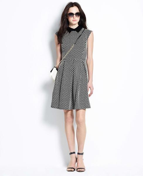 Ann Taylor Jacquard Pleated Dress