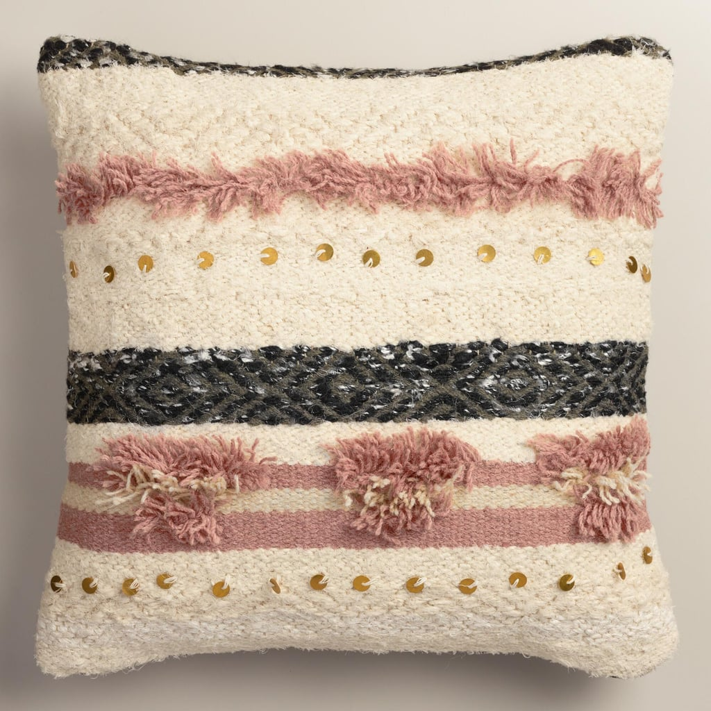 Cost Plus World Market Fall 2016 Collection: Pink Wedding Blanket Shag Throw Pillow ($60)