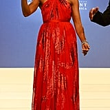 Michelle Obama wearing a Jason Wu dress at the Inaugural Ball in 2013.