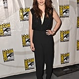 Emilia Clarke donned a slick black jumpsuit and silver pointy-toe pumps for the Game of Thrones panel.