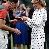 Diana wore Victor Edlestein white with black spots at the polo in 1987.