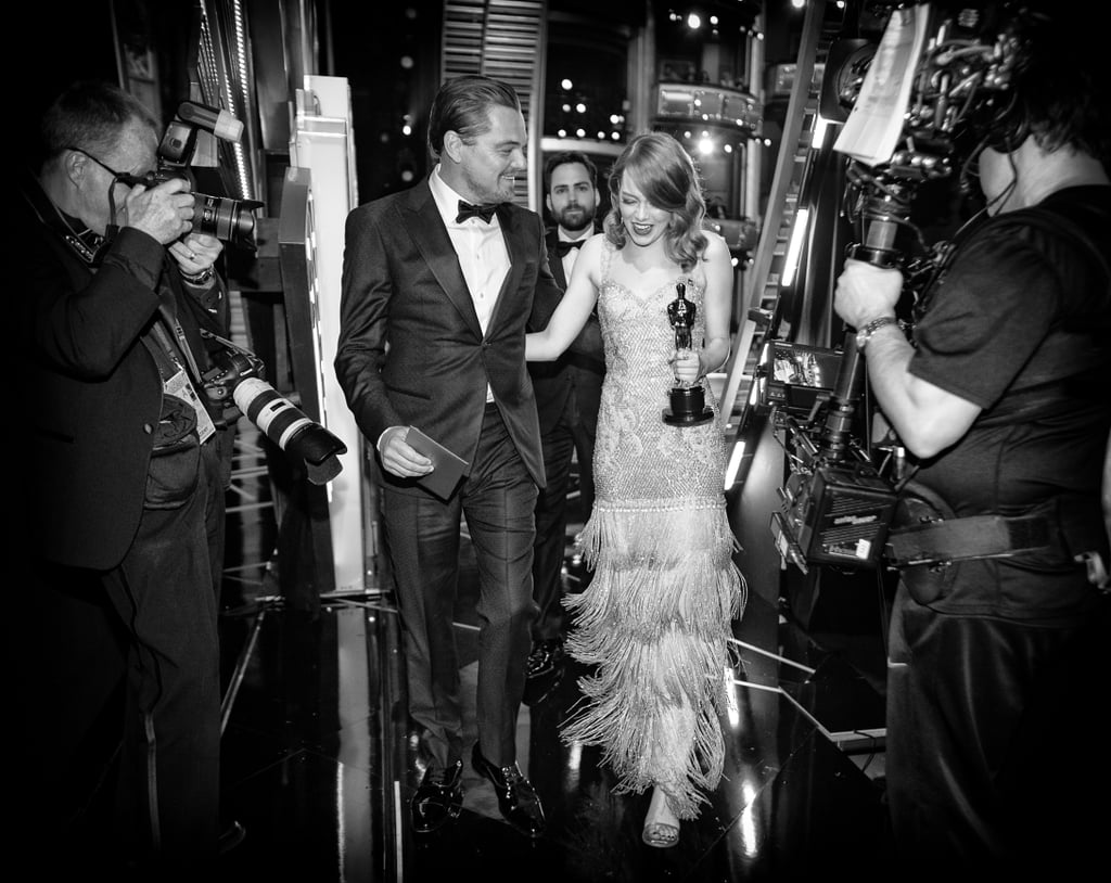Between the gorgeous red carpet gowns, poignant speeches, and audience mingling, the Academy Awards delivered on the celebrity moments we wanted to see. While we can't exactly say that the ceremony went off without a hitch, there was plenty of glamour to behold — and the best way to see it is in black and white.