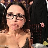 "Julia Louis-Dreyfus shared a photo of herself with the caption, ""Julia Loser-Dreyfus"" after the Golden Globes. Source: Julia Louis-Dreyfus on WhoSay"