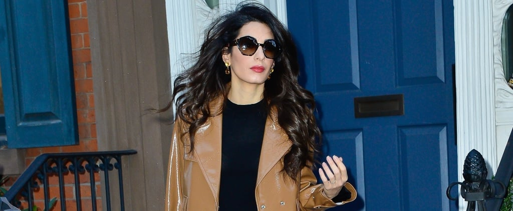 Amal Clooney Brown Patent Leather Coat
