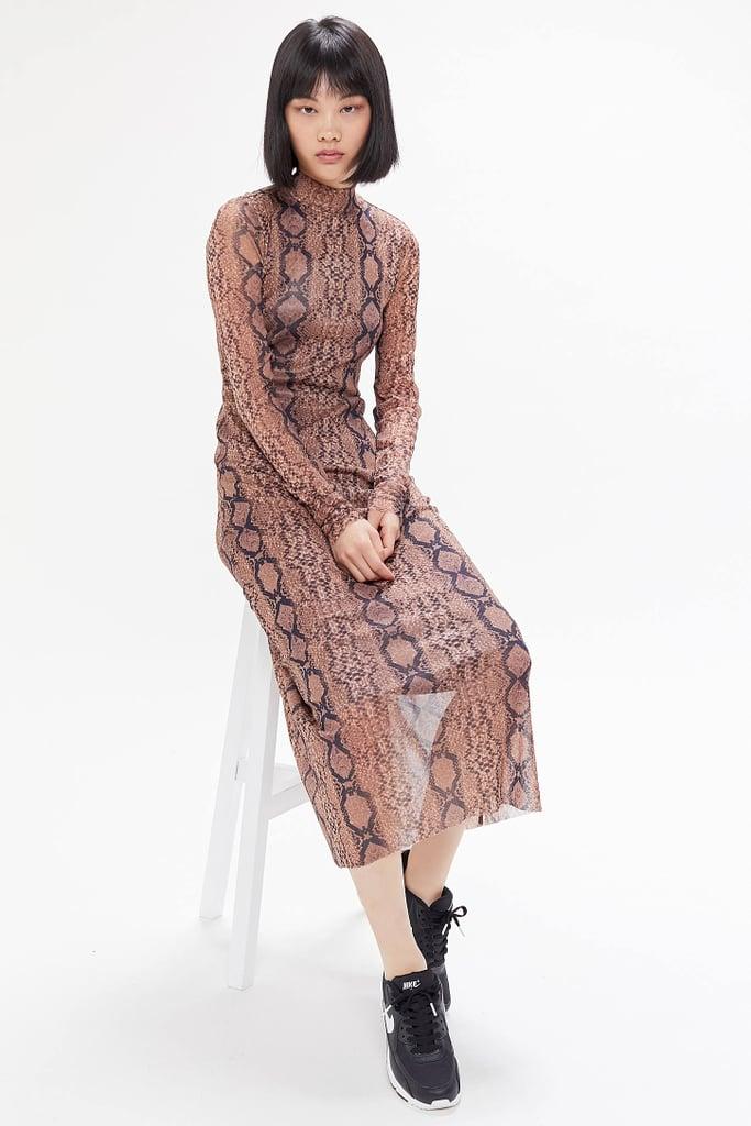 UO Siren Snake Print Mesh Maxi Dress