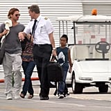 Brad Pitt leaving Mexico with Pax and Maddox Jolie-PItt.