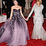 "In 2008, Bee wore her most voluminous Met Gala look: a purple Nina Ricci strapless ball gown. The theme that year was ""Superheroes: Fashion And Fantasy."""