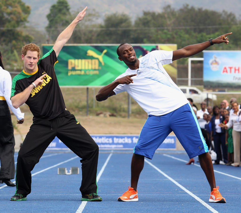"""Prince Harry put on sweats for a day on the track at the University of the West Indies in Jamaica yesterday afternoon. He raced against Olympic gold medalist Usain Bolt, but it looked like the guys were more interested in having fun than actually competing. Usain said of losing to Harry, """"He cheated, I said we would have a rematch in London 2012 and Harry said 'I'm busy.' He's cool, very down to earth. When you meet dignitaries you think it will be difficult but he just wanted to laugh. It was an honour and a pleasure to meet him."""" Harry has been on the go since last week when he popped up in Belize to kick off his tour in honour of the Queen's Diamond Jubilee.  Harry has also already made appearances in the Bahamas, where he spoke at a youth rally and visited with children."""