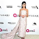 Wearing a Monique Lhuillier floral gown at the Elton John AIDS Foundation Oscars party in March 2018.