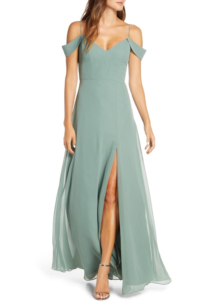Jenny Yoo Priya Cold Shoulder Chiffon Evening Dress | Best