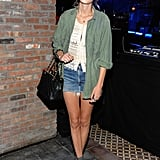 Capitalizing on the military trend and shorts, per usual, at a party for the Loft this Spring.
