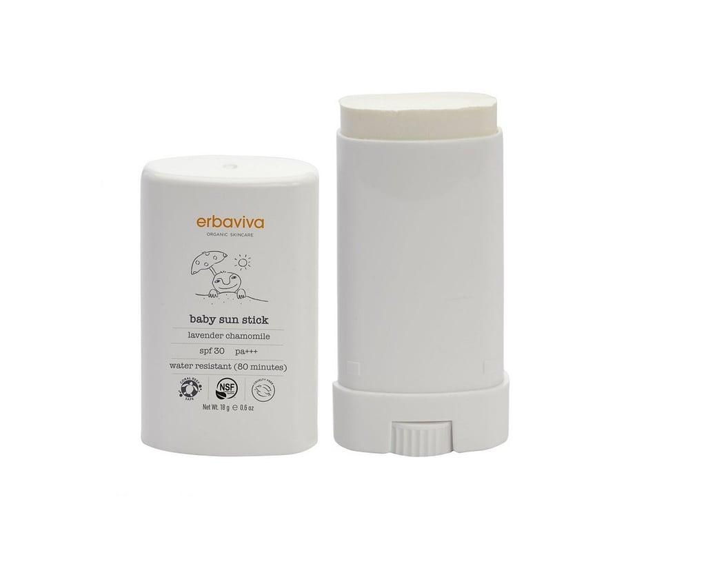 Erbaviva Organic Skincare Baby Sun Stick, Lavender Chamomile, SPF 30