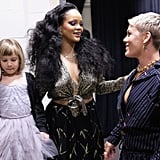 Rihanna hung out backstage with Pink and her daughter, Willow Hart, in 2018.