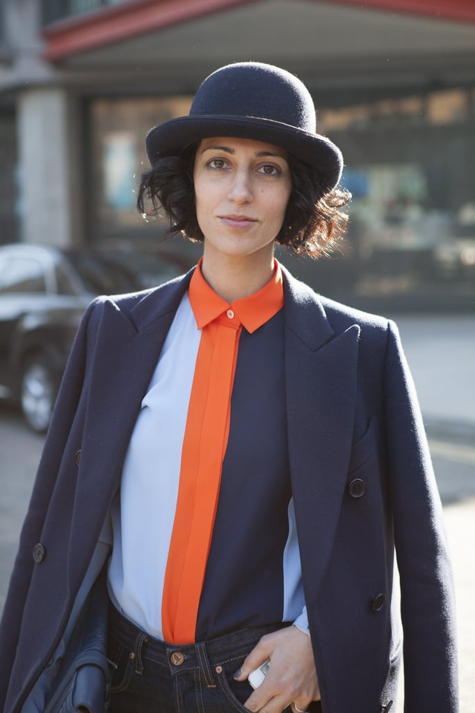 Yasmin Sewell was a good example of matching your blue eyeliner to your blue suit.