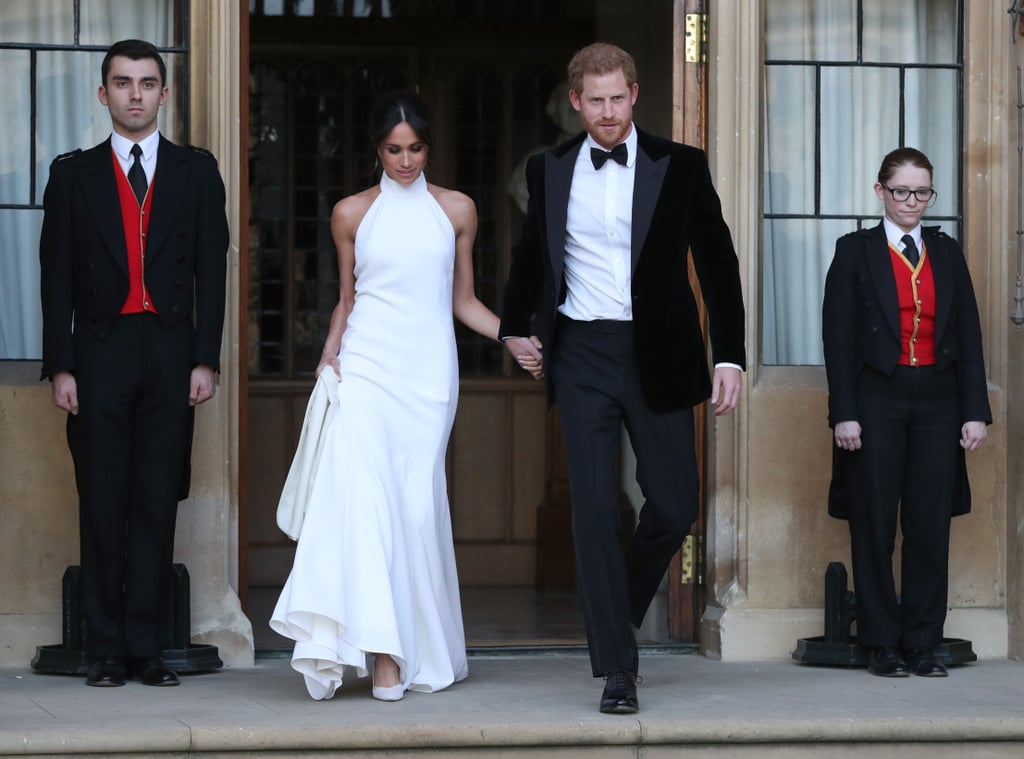 Prince Harry and Meghan Markle tied the knot at Windsor Castle on Saturday, May 19, but the celebration didn't stop there. After exchanging vows and sharing a laugh about their nerves in front of the royal family and their close friends, Harry and Meghan switched out of their formal attire into black-tie ensembles. While the new bride opted for a sleeveless Stella McCartney number, Harry kept things traditional with a classic tux and bow tie. Later, the newlyweds hopped in a silver blue Jaguar and headed to their reception hosted by the Prince of Wales at Frogmore House. Keep reading to see more photos of Meghan and Harry looking like a real-life Barbie and Ken.      Related:                                                                                                           The 29 Best Moments From Prince Harry and Meghan Markle's Fairy-Tale Royal Wedding