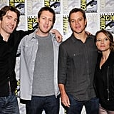 Sharlto Copley, Jodie Foster and Matt Damon at the San Diego Convention Center with director Neill Blomkamp.