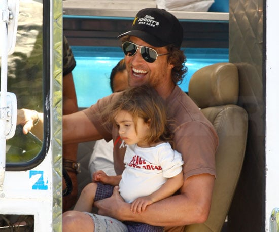 Slide Picture of Matthew McConaughey and Levi in Malibu
