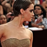Emma Watson's slicked back hair at the Harry Potter and the Deathly Hallows Part 2 premiere in NYC.
