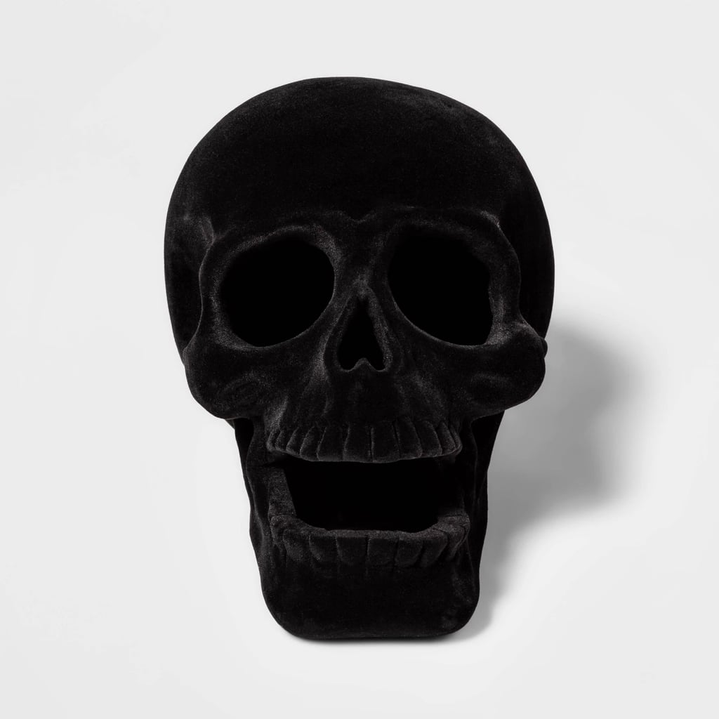 Black Resin Flocked Skull Halloween Decoration