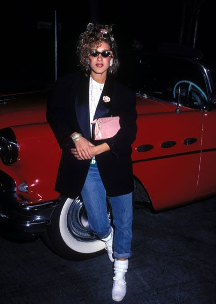 Did this make you laugh, too? Working the oversize blazer, pegged jeans, and Keds in 1980.