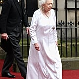 Queen Elizabeth wore a long white gown for the Thistle Ceremony in Scotland.