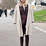 The first outing for Suki's burgundy Burberry jacket was actually at Men's Fashion Week in January 2014. She wore it again for the Elle Style Awards the following month.