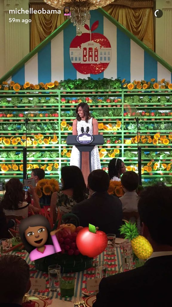 Michelle Obama White Dress With Bows Kids' State Dinner 2016