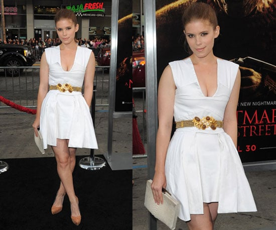 Kate Mara at A Nightmare On Elm Street Premiere Wearing White Dress and Jeweled Belt