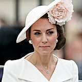 The Duchess chose a gorgeous hat by Philip Treacy for Trooping the Colour, during the Queen's 90th birthday in 2016.