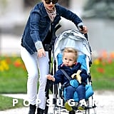Natalie Portman took her son, Aleph Millepied, for a stroll through a Paris park.
