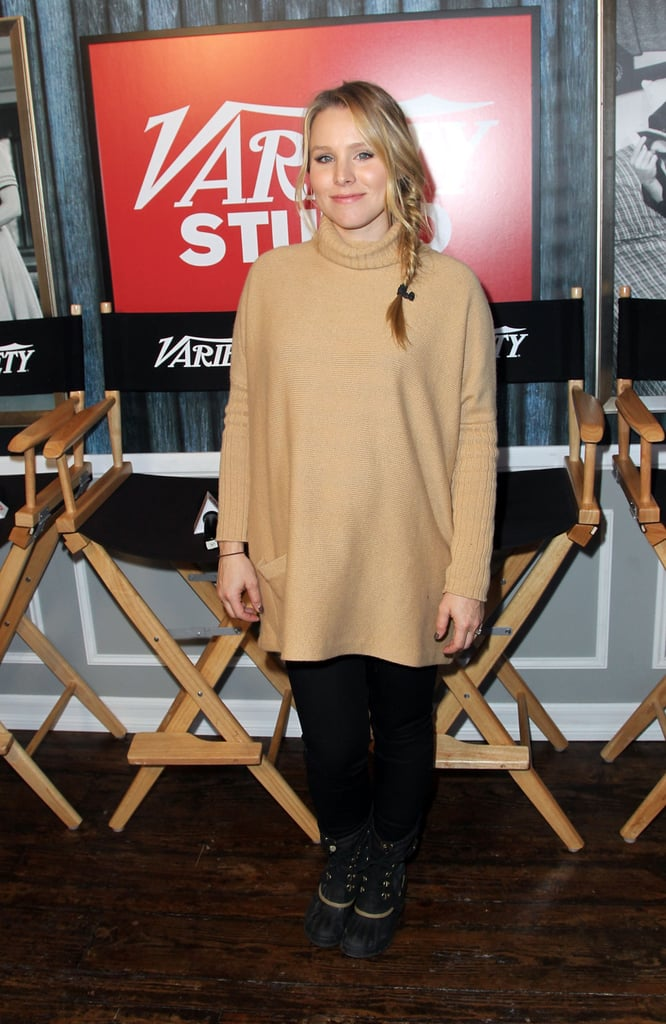 Kristen Bell stayed cozy in an oversize turtleneck and serious Winter boots.