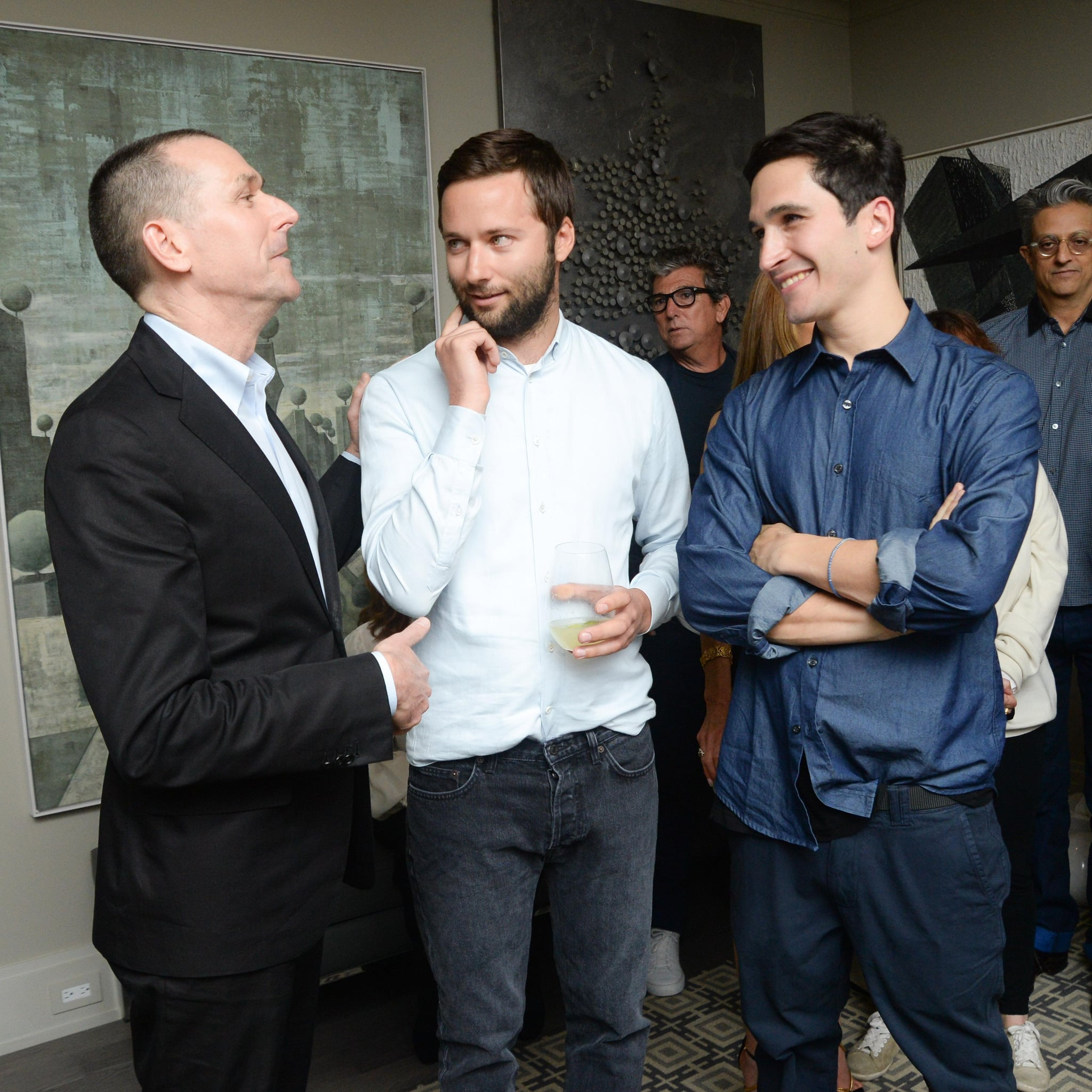 Barneys CEO Mark Lee and Proenza Schouler's Jack McCollough and Lazaro Hernandez at a party celebrating their First Collection capsule in New York. Source: Joe Schildhorn/BFAnyc.com