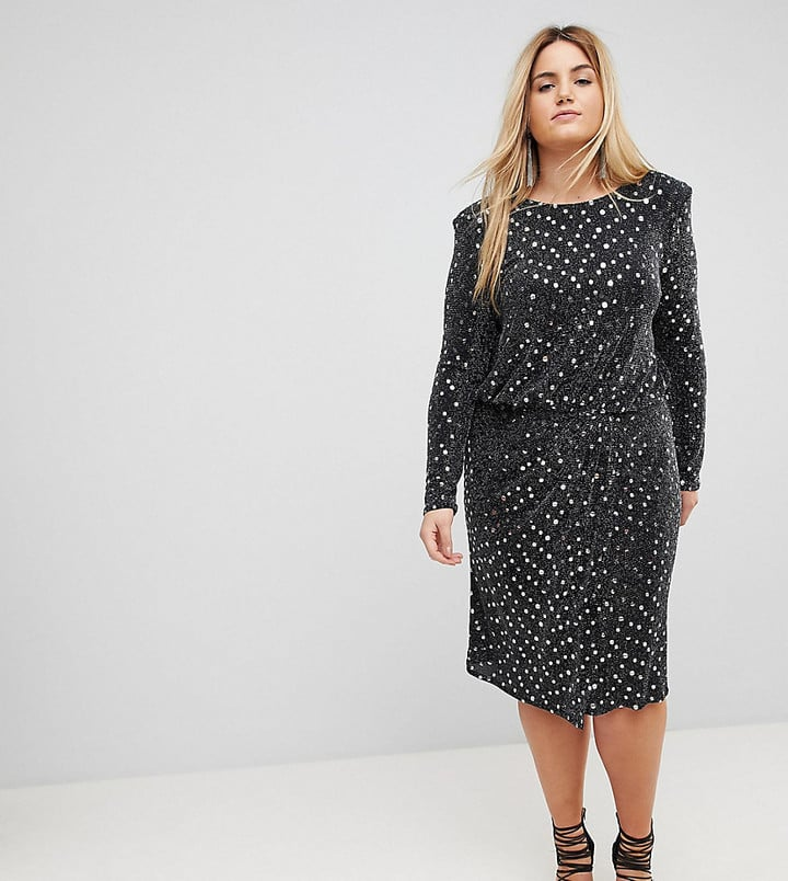 Flounce London Sequin Midi Dress with Shoulder Pads