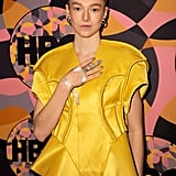 Hunter Schafer's Bejeweled Finger with Grey Nails, January 2020