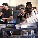 Kate Beckinsale, Lily Sheen, and Len Wiseman headed off on a trip.