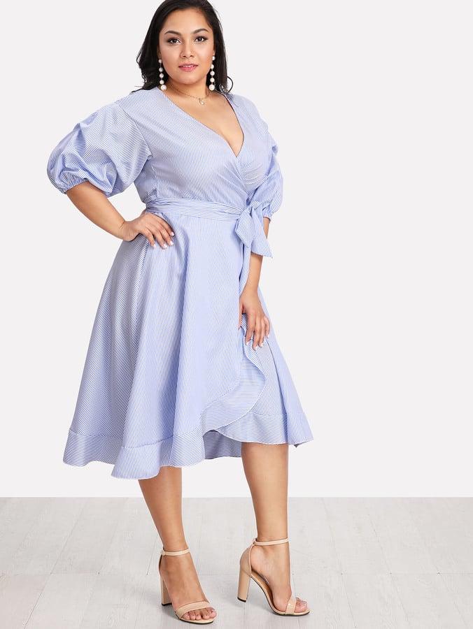 7f6d960fc5 SheIn Lantern-Sleeve Ruffle-Trim Pinstripe Dress | Whoa, Whoa, Whoa ...