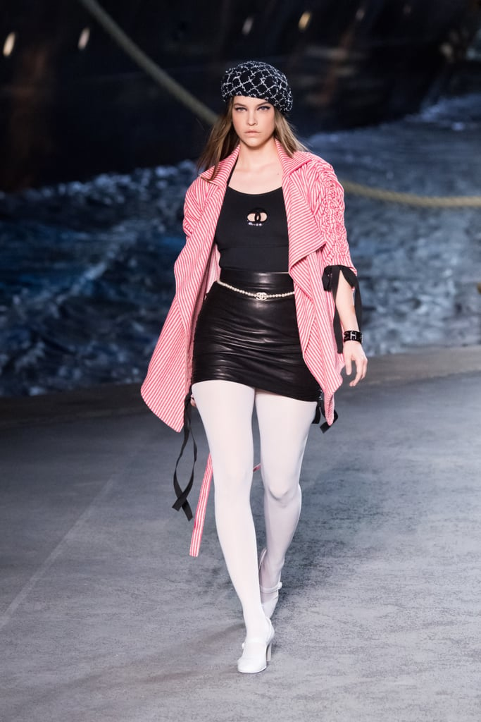 Barbara Palvin Wore A Leather Skirt And A Pink Waterfall