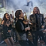 """So a song-a-long is actually the riff-off from Pitch Perfect. I'm sure these are really important Eurovision cameos that I will look up later. It's the cute Norwegian violin player, Alexander Rybak, from 2009! It's CONCHITA WURST! OH, HELL YEAH! IT'S NETTA BARZILAI. Look up her song """"Toy."""" French maid and little sailor boy? What am I watching? Why is he talking about his penis like it's a Volvo? I would also love to go club dancing. IT HAS BEEN SO LONG. Mita and Alexander have something up their sleeves, I know it. Lars going """"sex nuts"""" is absolutely not what I knew I needed until today. I mean . . . he's not wrong about Americans. We do love Starbucks and view Europe as our party town. I absolutely thought Katiana's ghost was Daenerys."""
