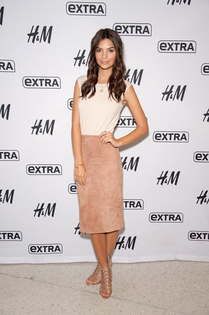 We Love This Neutral Colored Look, Which Emily Wore As She Stopped By Extra
