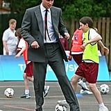 William played soccer with a group of children in England back in May 2008.