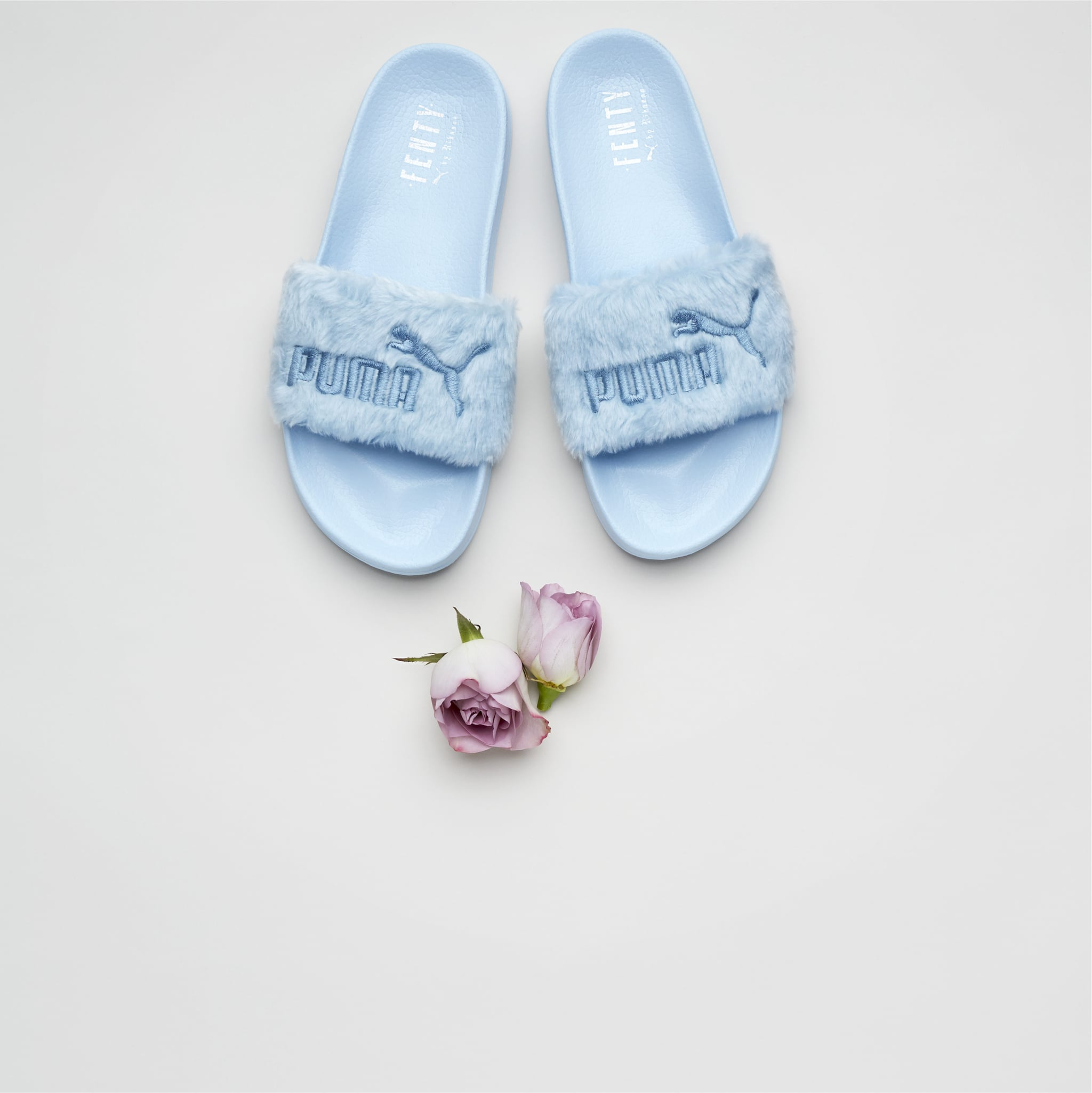 reputable site 8dacc 47172 Fur Women's Slide Sandals in Cool Blue ($90) | Rihanna's New ...