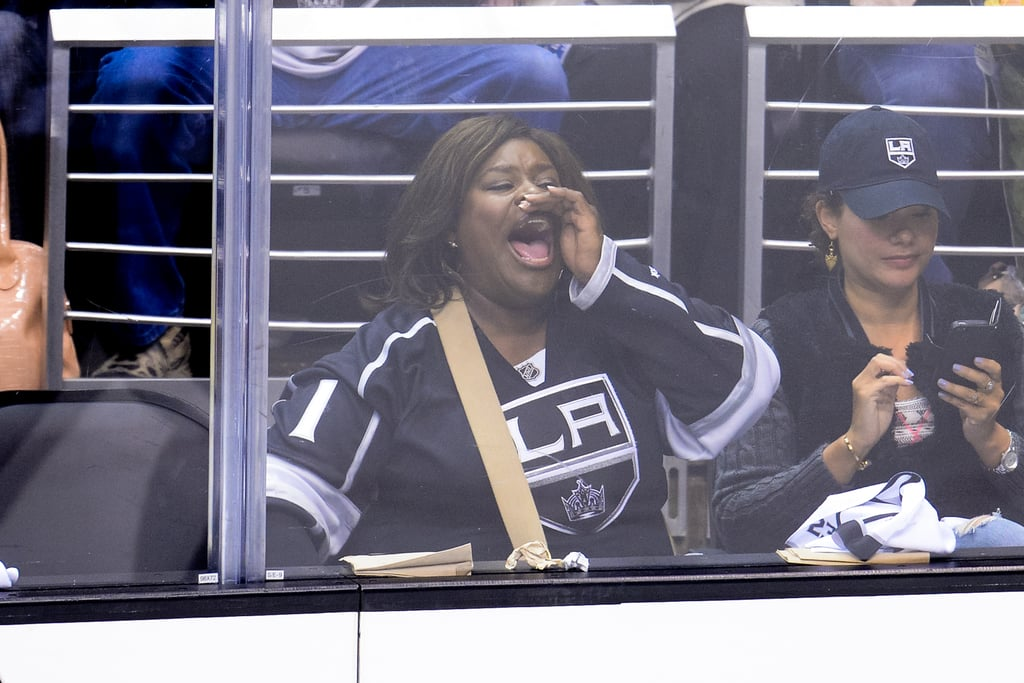 Parks and Recreation star Retta was also at the game, where she got in the Kings spirit.