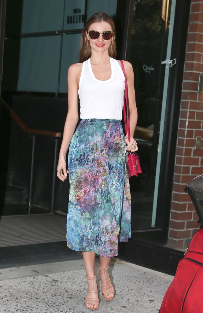 cfc1ff97075d Miranda tucked a white tank into a floral Topshop skirt