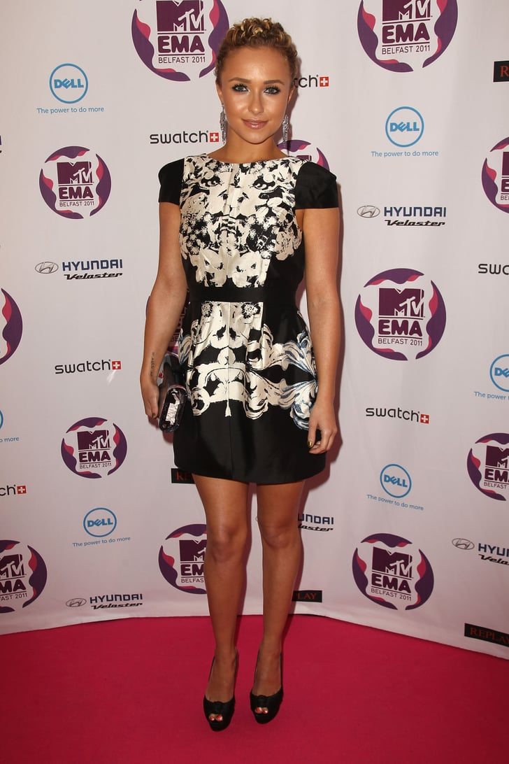 hayden panettiere went with a classic black and white