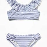 Old Navy Striped Ruffle-Neck Bikini