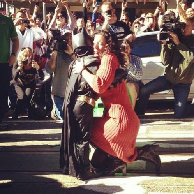 Batkid hugged the damsel in distress after he rescued her.  Source: Instagram user doubleldaniell